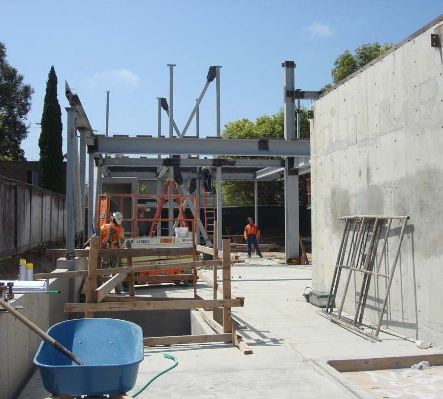 Poured foundation, shear walls, and embedded steel columns for a custom home in Manhattan Beach, CA. Pacificland Constructors