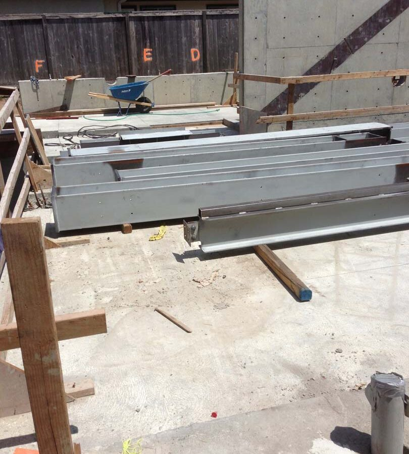 Steel members for a custom home in Manhattan Beach, CA prior to installation. Pacificland Constructors