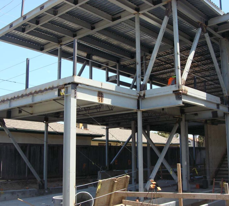 Steel framework for a new custom home in Manhattan Beach, CA. Pacificland Constructors