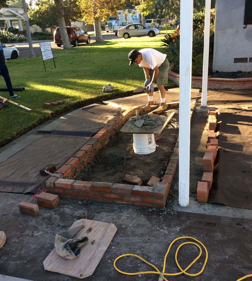 Construction of new brick planters. Pacificland Constructors