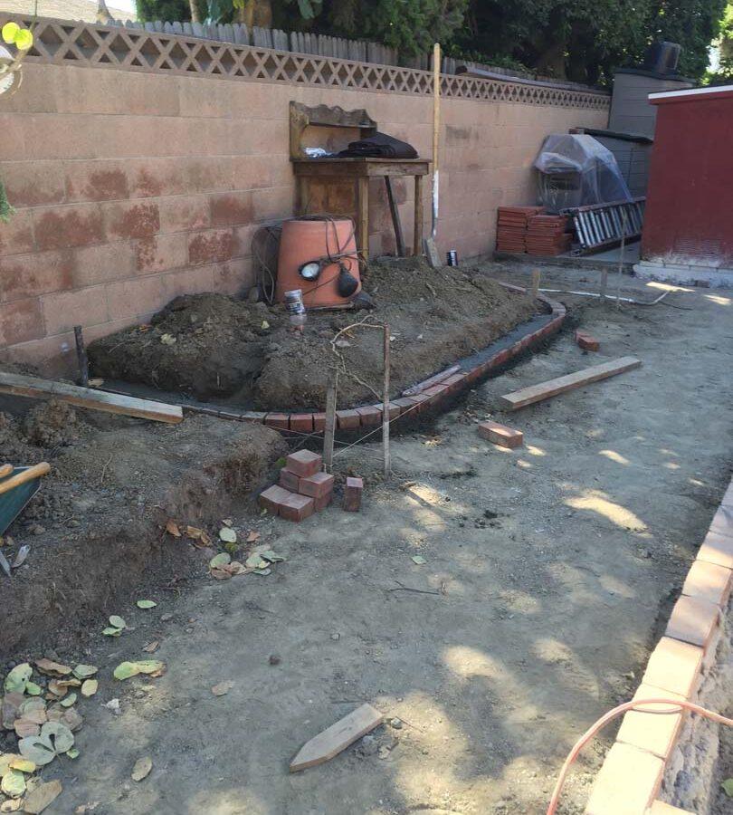 Construction of a new brick planter. Pacificland Constructors