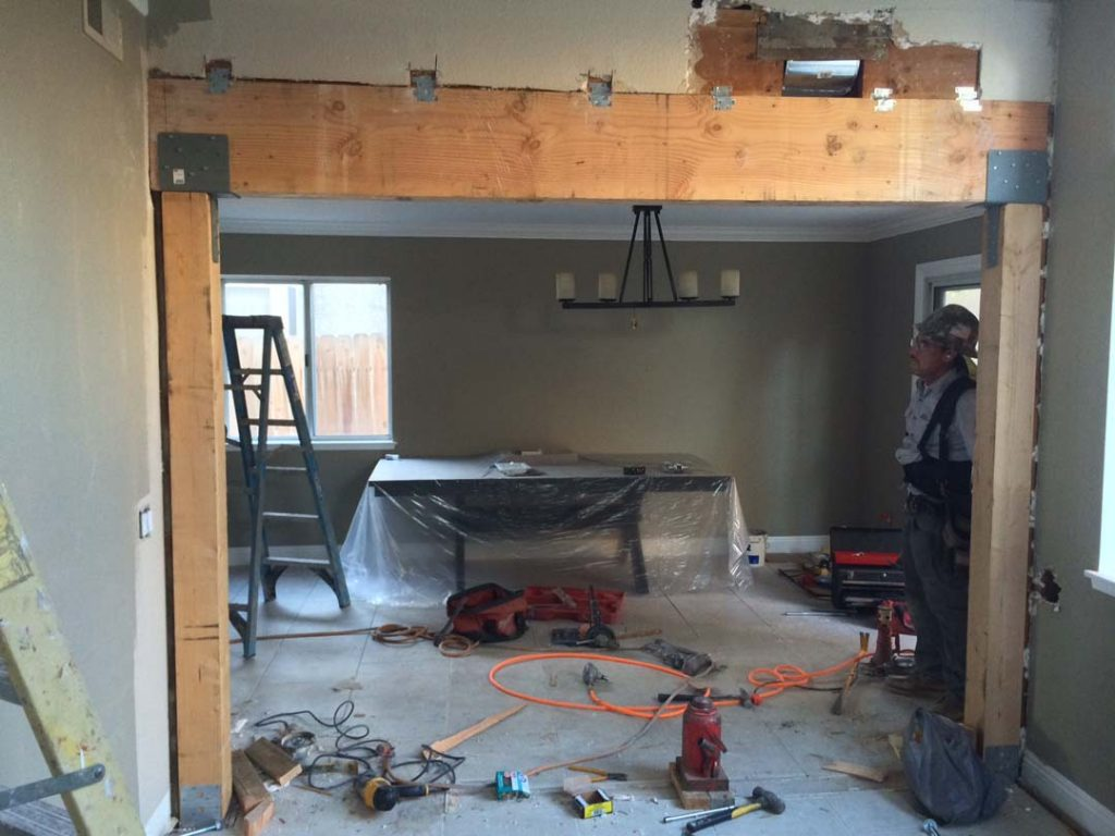 Construction Of The Replacement A Load Bearing Wall With Beam Here Framework