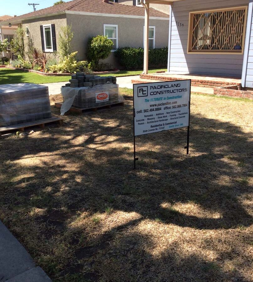 Sign of Pacificland Constructors displayed in the front yard of our projects. Pacificland Constructors