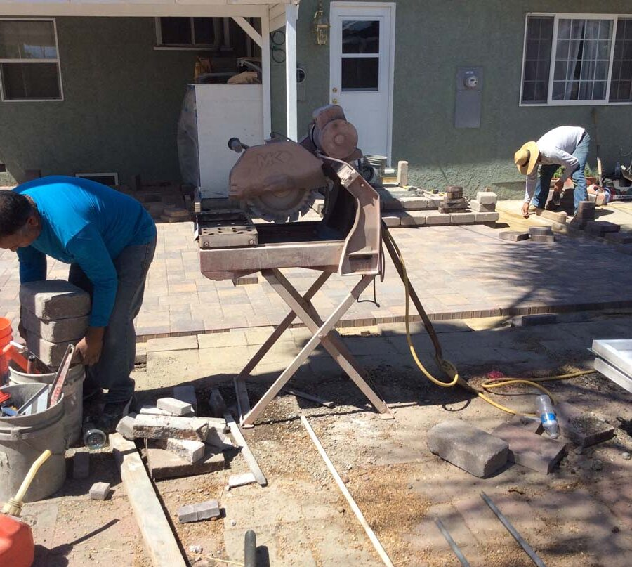 Construction of new paver concrete patio.