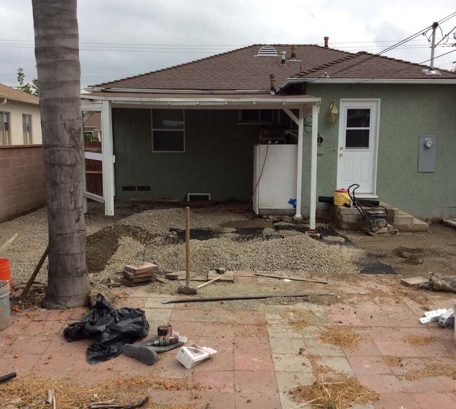 Demolition of old backyard patio.