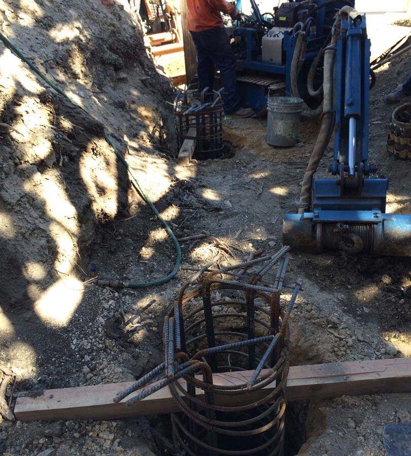 Steel Rebar reinforcement of Cast in place foundations. Pacificland Constructors