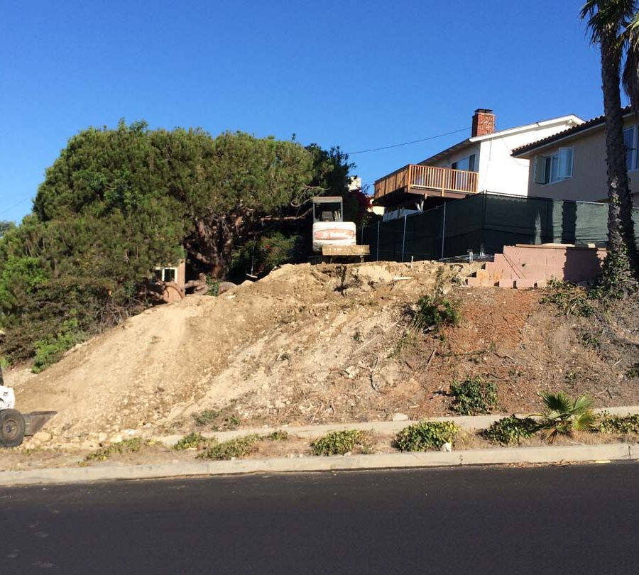 Old foundation grade is relatively steep. Pacificland Constructors