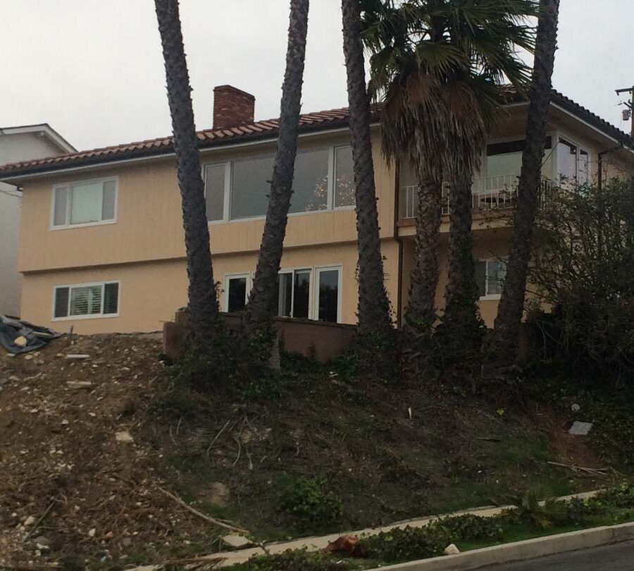The previous contractor who did work on this home threw all the debris of the pool construction onto the hillside. We were called to clean their work and build a retaining wall to increase flat space by the pool deck.