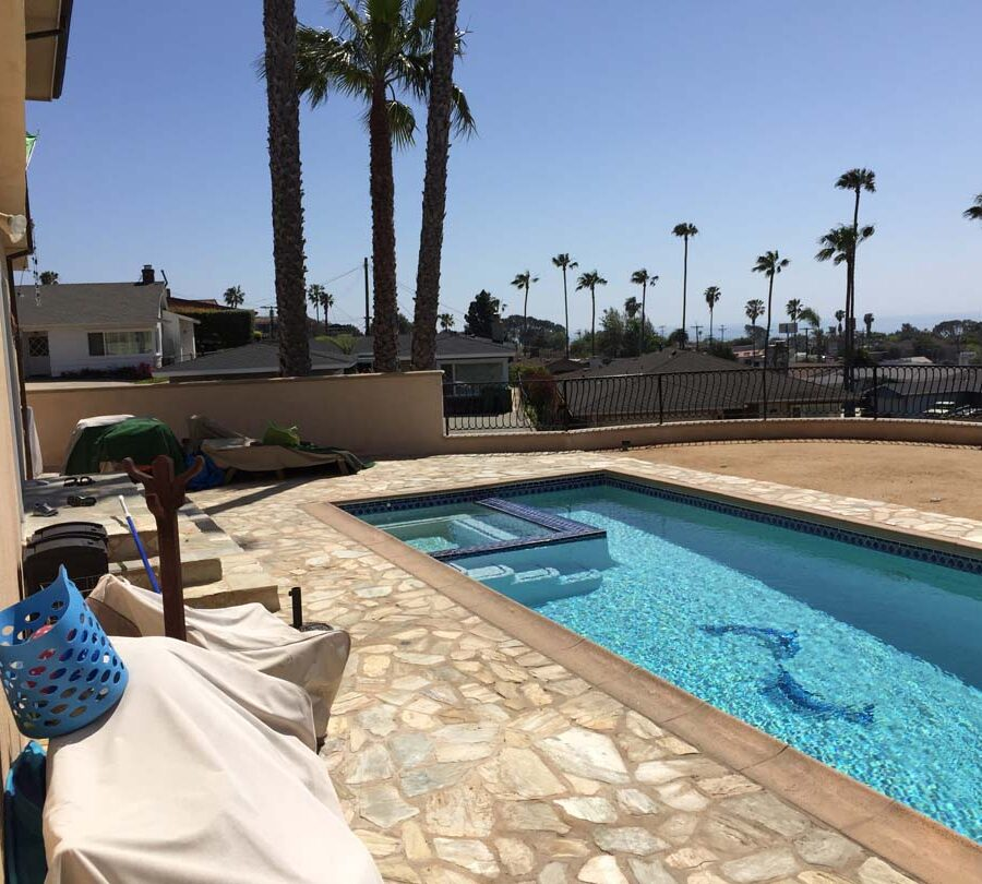 New flagstone pool deck for a home in San Pedro, CA. Pacificland Constructors