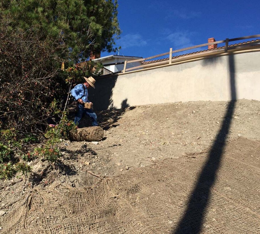 New erosion control applied over the soil before installing a water drop system. Pacificland Constructors