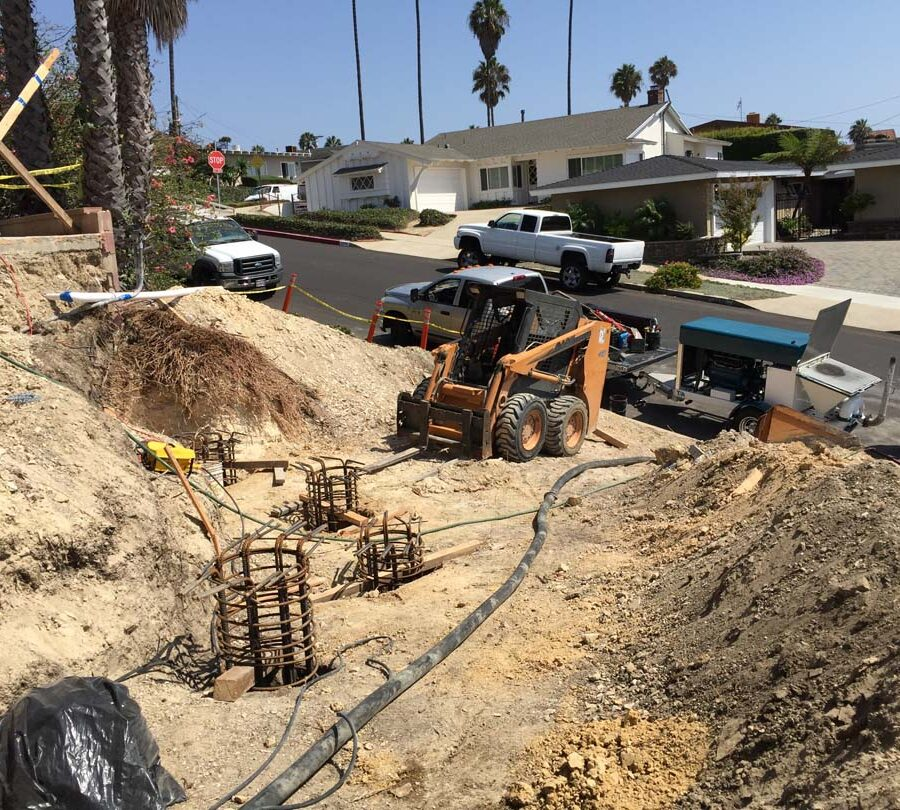 Concrete pouring of Cast in place foundations. Pacificland Constructors