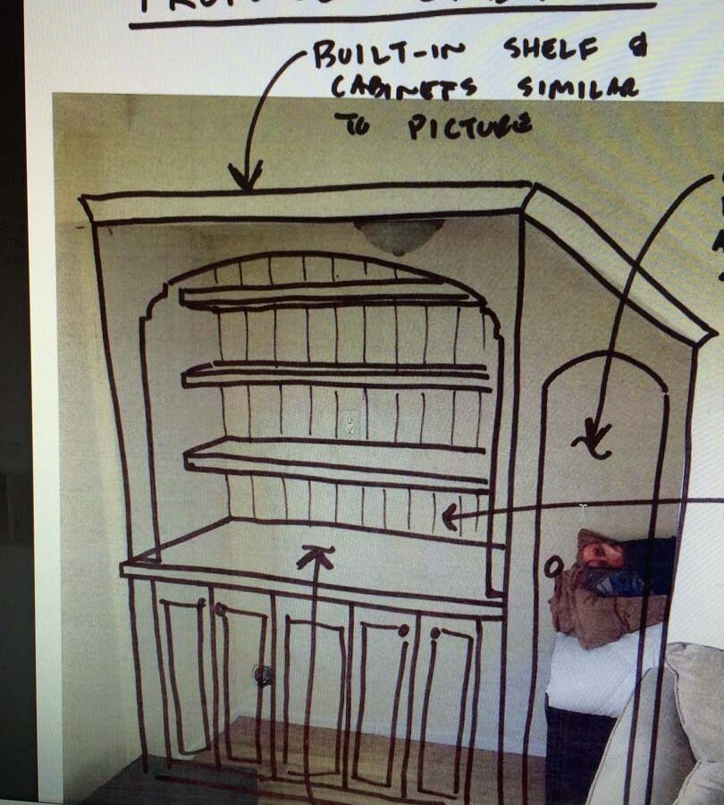 The owner's plans for a wooden drawer under the stairs of the home. Pacificland Constructors