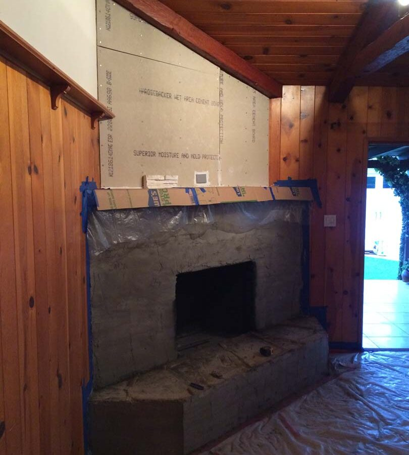 Fireplace remodel prior to installing a marble/granite outer hearth and stone veneer. Pacificland Constructors