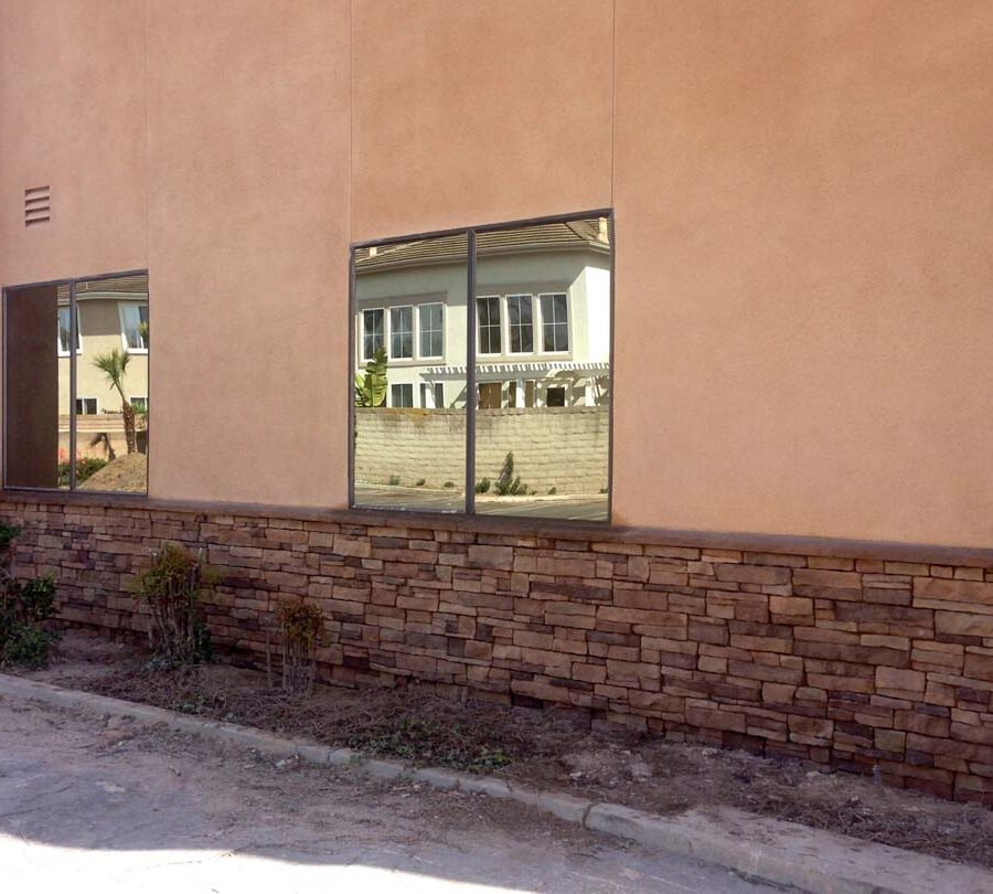 Stone veneer at the exterior of a commercial building.