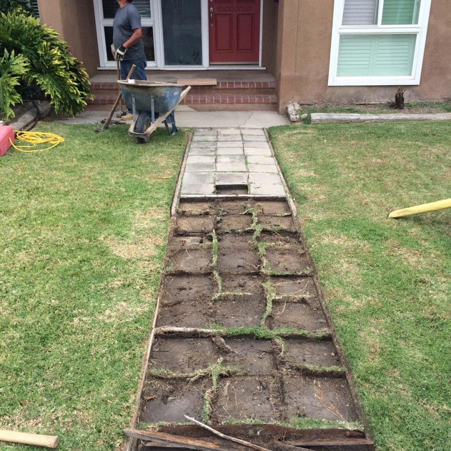 Demolition of existing home's walkway. Pacificland Constructors