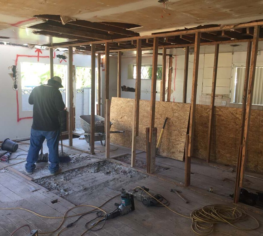 Prior to cutting into the ceiling joists, Pacificland had to take precautionary measures by installing wooden lally columns to support the ceiling joists from collapsing. Pacificland Constructors