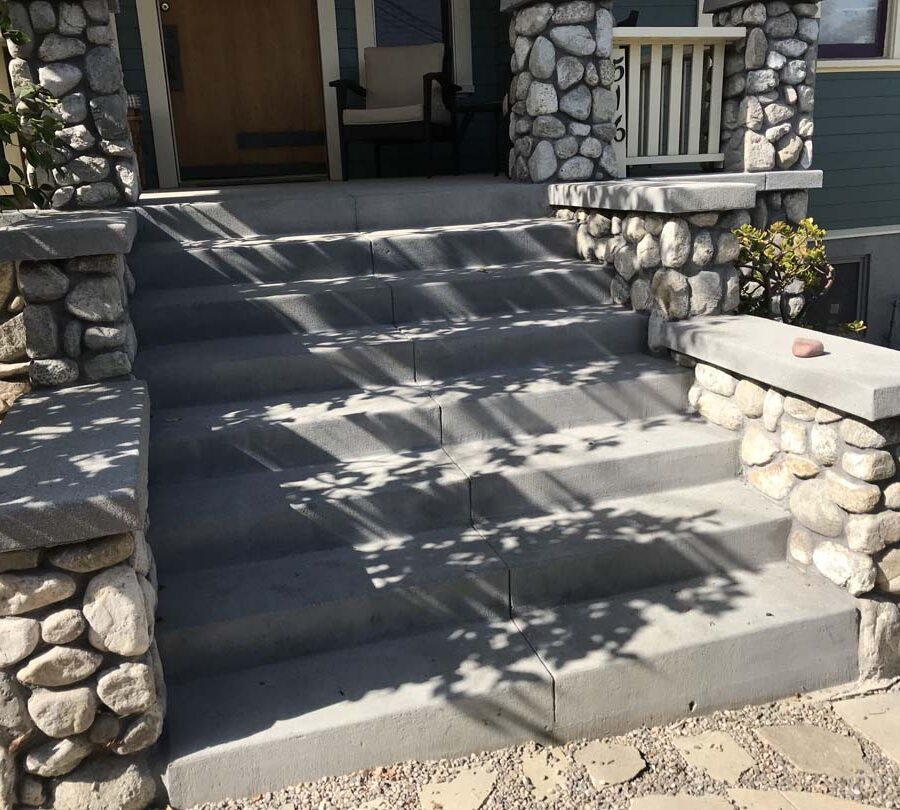 New front yard stone and concrete work for the entrance of a home in Eagle Rock, Los Angeles, CA. Joints are saw cut to control cracks. Pacificland Constructors
