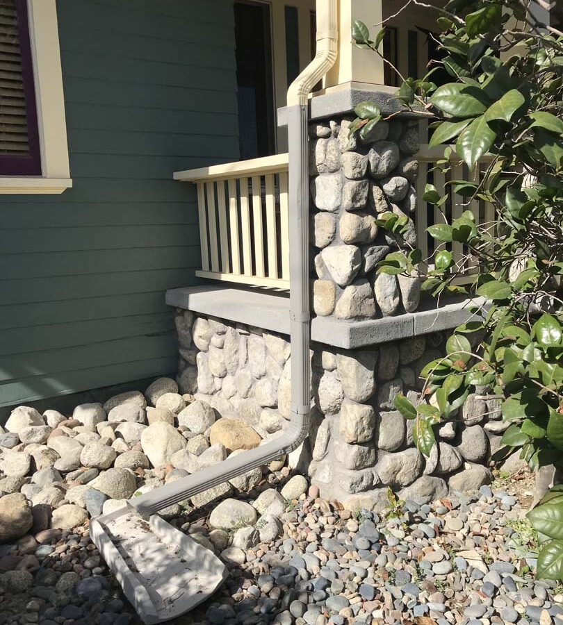 Restored Front porch with new stone veneer. Pacificland Constructors