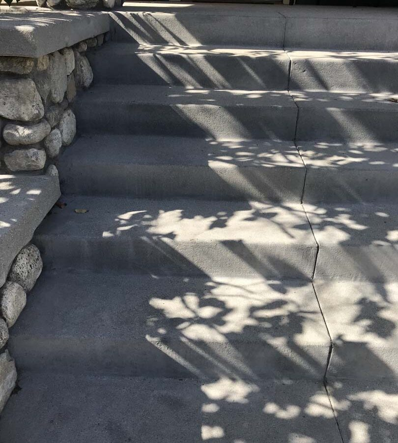 New front yard concrete work for the entrance of a home in Eagle Rock, Los Angeles, CA. Joints are saw cut to control cracks. Pacificland Constructors