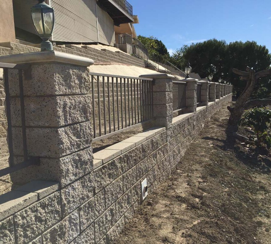 New CMU courtyard fence for a home in La Habra, CA. Pacificland Constructors