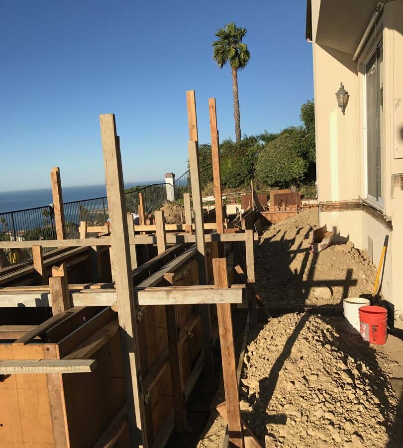 Wooden formwork for a new custom concrete planter in Palos Verdes Estates, CA. Pacificland Constructors