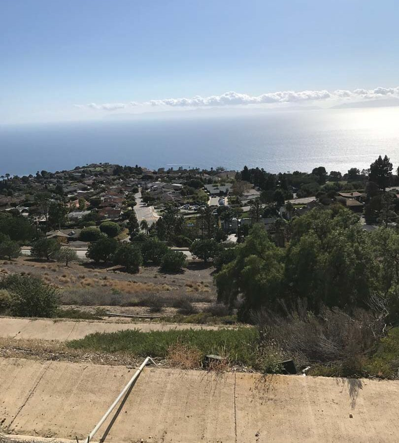 Backyard view of this home in Rancho Palos Verdes Estates, CA. Pacificland Constructors