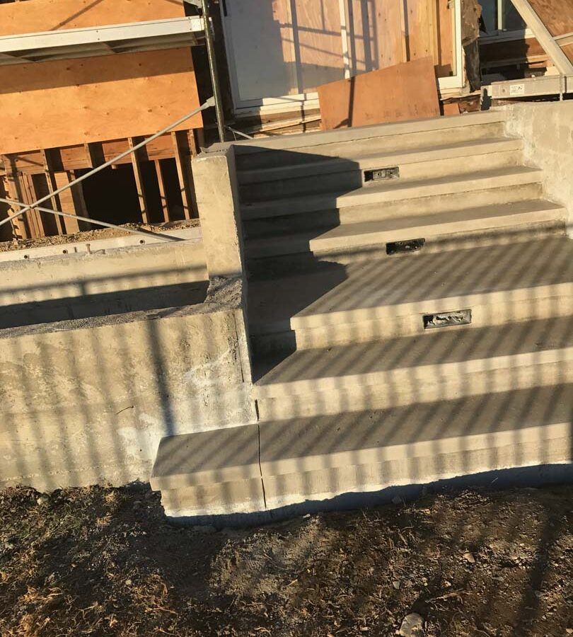 Poured a new gray concrete steps and planter in Palos Verdes Estates, CA. These steps will be lit up with lights placed at the face of the steps. Pacificland Constructors