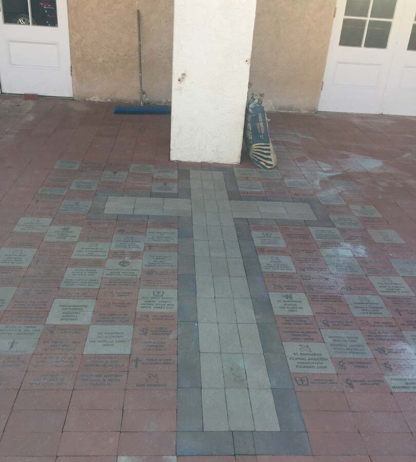 Completed pavers with the shape of a Cross. Pacificland Constructors